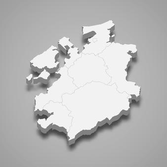Isometrische karte von freiburg isoliert auf grau
