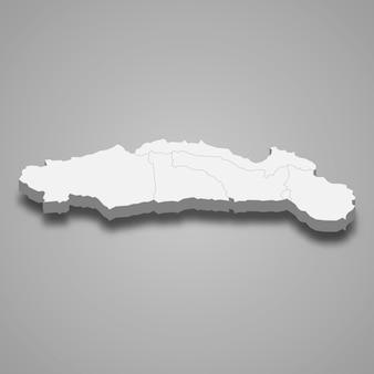 Isometrische karte von gorontalo isoliert auf grau