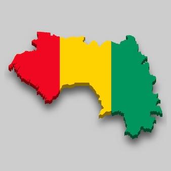 Isometrische karte von guinea 3d mit nationalflagge.