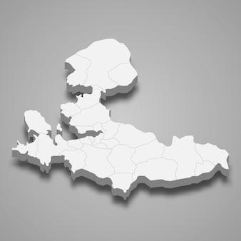 Isometrische karte von izmir isoliert auf grau
