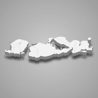 Isometrische karte von west nusa tenggara ist eine provinz von indonesien