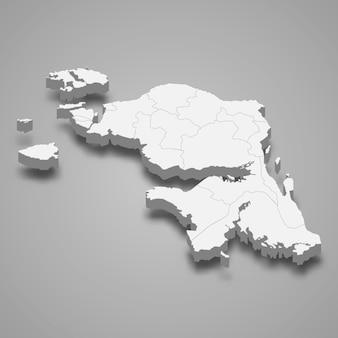 Isometrische karte von west papua ist eine provinz von indonesien