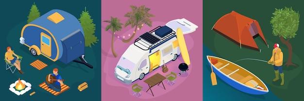 Isometrische karten von campingplätzen