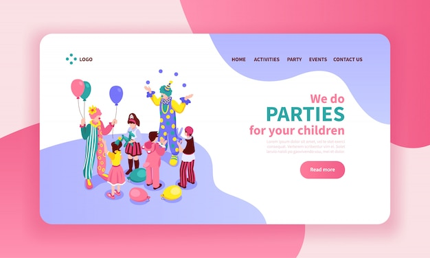 Isometrische kinderanimatorfarbwebsite-seitendesignzusammensetzung mit anklickbaren knopflinks und s von entertainern
