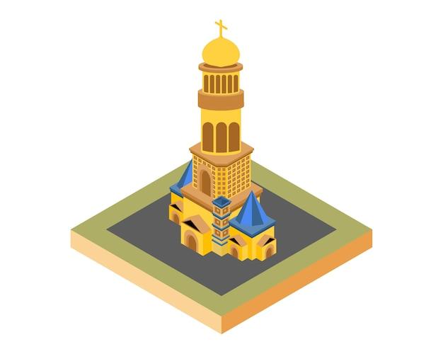 Isometrische kirche gold, vektor-illustration