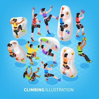 Isometrische klettersport hintergrund