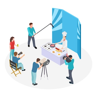 Isometrische koch-tv-show. vektorkoch und filmteam. shooting show