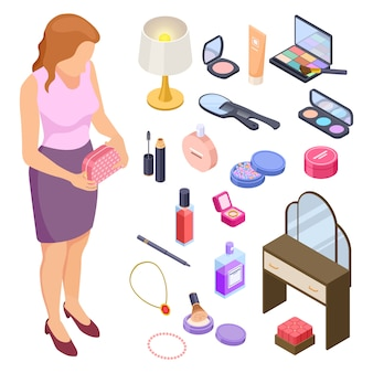 Isometrische kollektion für damenkosmetik und accessoires