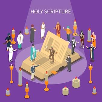 Isometrische komposition der heiligen schrift mit offenem buch, menschen aus weltreligionen, kerzen auf violettem hintergrund