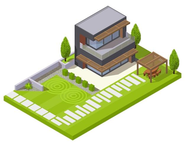 Isometrische komposition des landschaftsdesigns