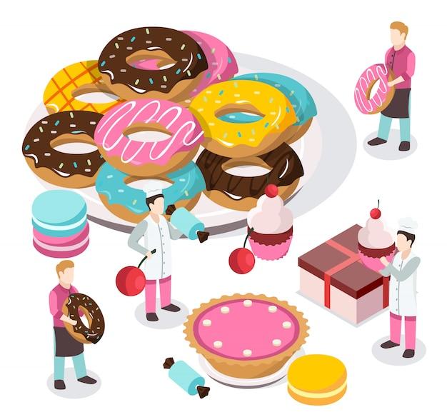 Isometrische komposition für süßwaren