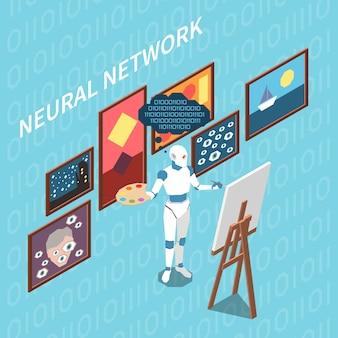 Isometrische komposition künstlicher intelligenz mit robotercharakter mit palettenzeichnung von gemälden basierend auf erlernter erfahrung