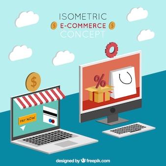 Isometrische komposition mit geräten und shopping-elementen