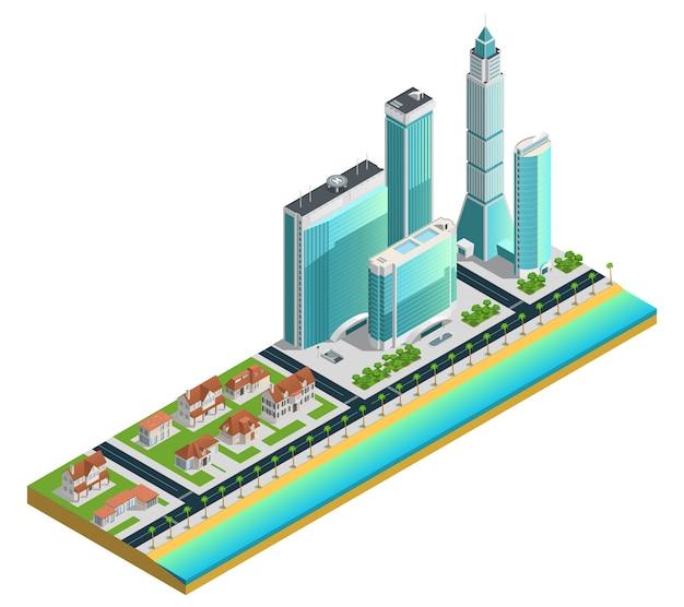Isometrische komposition mit modernen wolkenkratzern und vorstadthäusern