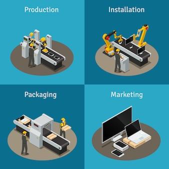 Isometrische komposition mit vier quadratischen farbigen elektronikfabriken, verpackung und marketing der produktionsanlage