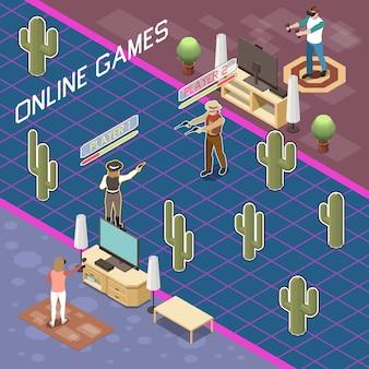Isometrische komposition von spielern mit blick auf personen, die ein kampfspiel mit tragbarem zubehör und text spielen