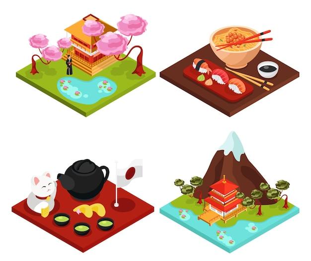 Isometrische kompositionen des japan-reisekultur-nahrungsmittelkonzepts mit berg-sakura-tempel-teezeremonie isoliert