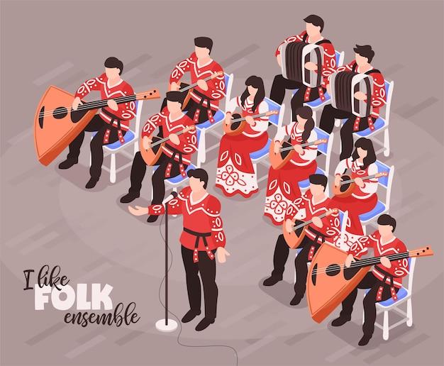 Isometrische kompositionen des volksensembles mit sängern und musikern, die traditionelle instrumente in trachtenillustration spielen