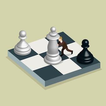 Isometrische konzept der geschäftsbewegung und -strategie