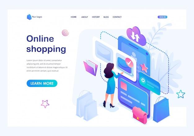 Isometrische konzept junges mädchen online einkaufen mit smartphone und mobile app, bezahlen mit kreditkarte. template landing page für die website