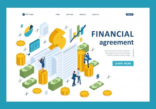 Isometrische konzept zur erstellung einer finanziellen vereinbarung, schließen partner eine vereinbarung landing page