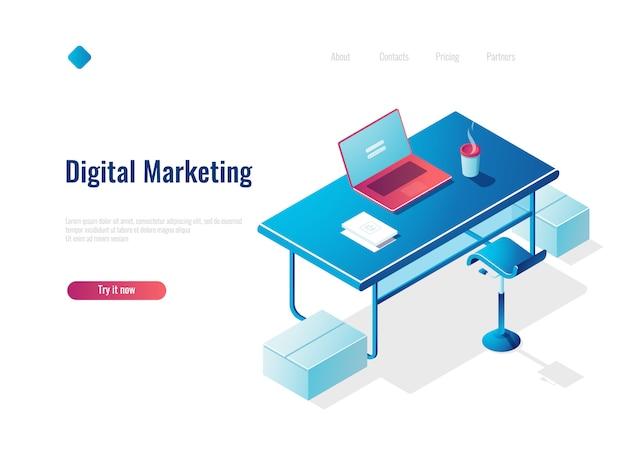 Isometrische konzeptanstellung des digitalmarketings, büroarbeitsplatz, arbeitsplatz, tabelle mit offenem laptop