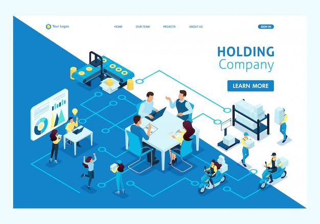 Isometrische konzeptarbeit großer holdinggesellschaften. produktionsstruktur unternehmen. landingpage der website-vorlage