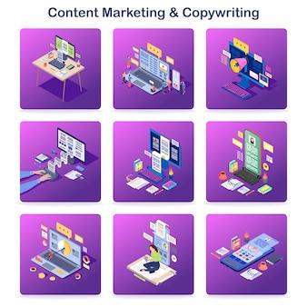 Isometrische konzeptikonen des zufriedenen marketings u. des copywritings eingestellt