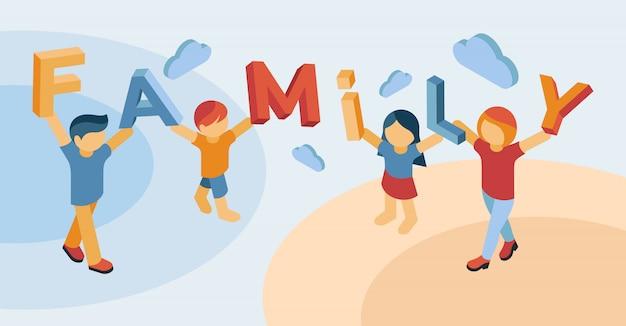 Isometrische konzeptillustration der glücklichen familie
