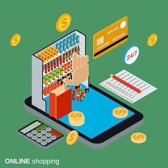 Isometrische konzeptillustration der online-einkaufswohnung 3d