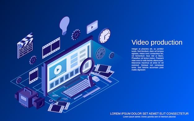 Isometrische konzeptillustration der videoproduktion