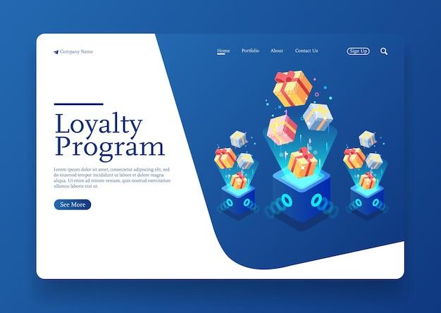Isometrische konzeptszene des digitalen designs der 3d-geschenkbox für das loyalitätsprogramm isometrische loyalitätsfarm