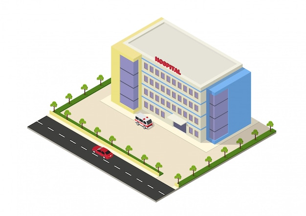 Isometrische krankenhausgebäude