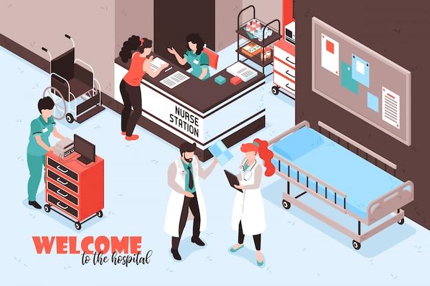 Isometrische krankenhauszusammensetzung mit text und ansicht des empfangsschalters der schwesternstation mit personen- und möbelvektorillustration