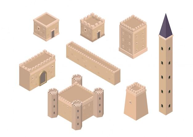 Isometrische kreation kit von mittelalterlichen gebäuden