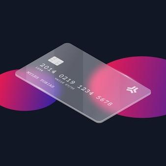 Isometrische kreditkarte mit glaseffekt