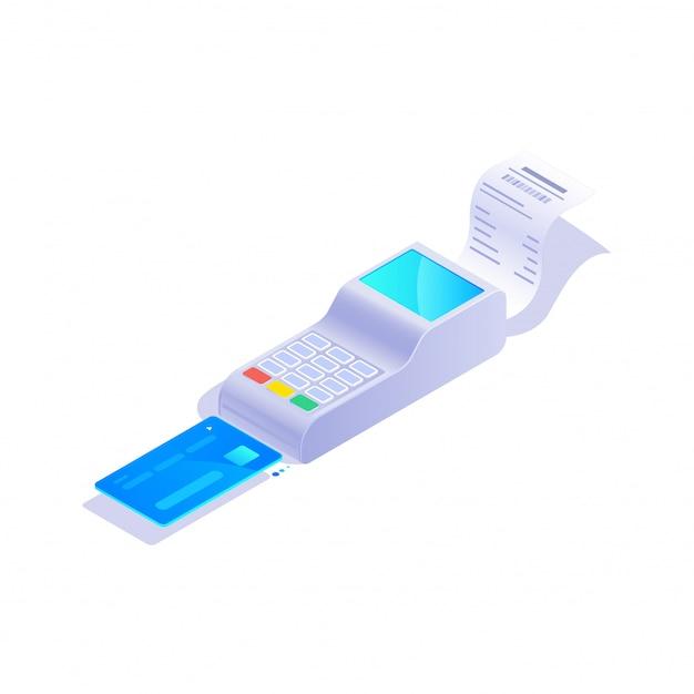 Isometrische kreditkartenterminalikone, positions-terminal mit kreditkarte auf weißer hintergrundillustration.