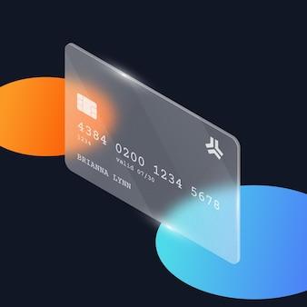 Isometrische kreditkartenvorlage mit glaseffekt