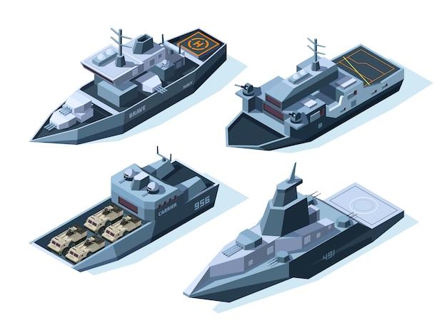 Isometrische kriegsschiffe. militärboote getrennt auf weiß