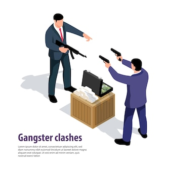 Isometrische kriminelle zusammensetzungsillustration