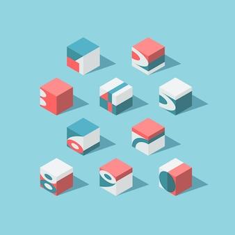Isometrische kubische ziffern. keine farbverläufe und transparenz.