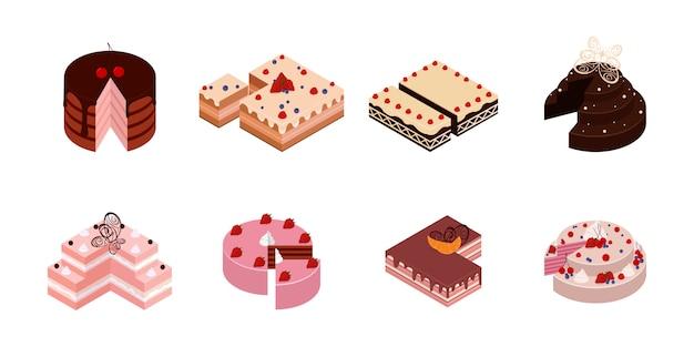 Isometrische kuchen. schokoladenkuchenscheibe, köstliche geschnittene geburtstagstorte und leckerer rosa glasurkuchen. kuchen mit einem geschnittenen stück.