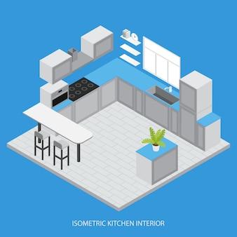 Isometrische küche innenraum mit schränken schränke weißes gegenfenster fliesenboden mikrowelle vektor-illustration