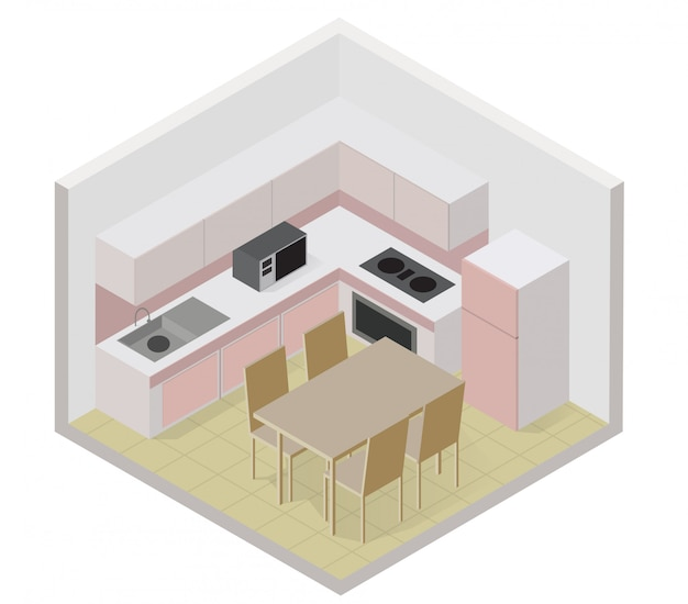 Isometrische küchenikone mit einer festen tabelle und einem stuhl