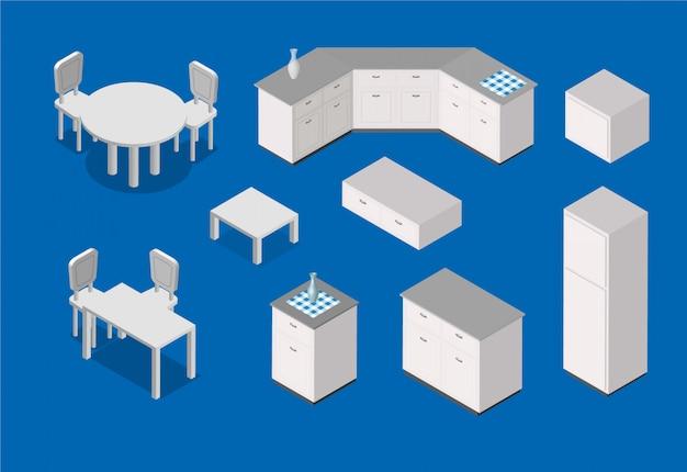 Isometrische küchenillustration