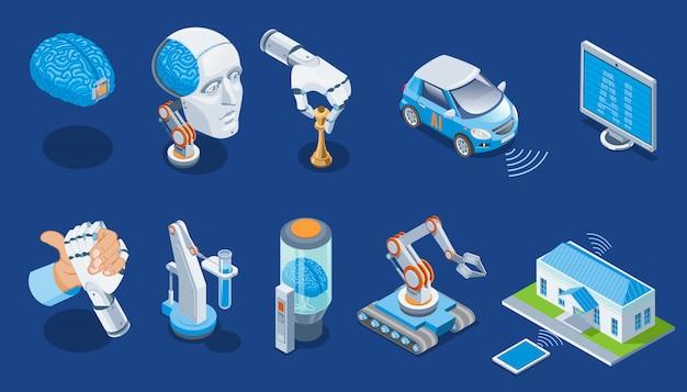 Isometrische künstliche intelligenz eingestellt mit menschlichem gehirn roboterarm spielt schachmonitor elektroauto medizinische industrieroboter smart home isoliert