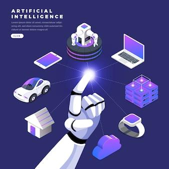 Isometrische künstliche intelligenz im flachen design