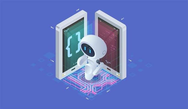 Isometrische künstliche intelligenz. neuronet- oder ai-technologiehintergrund mit kleinem roboter. chat-bot-konzept.