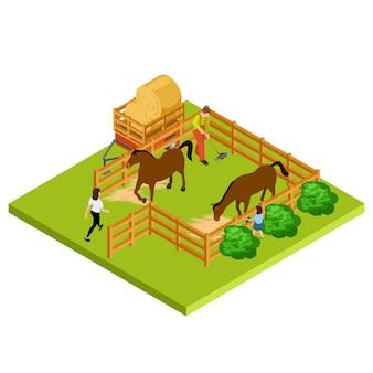 Isometrische lage der pferdefarm