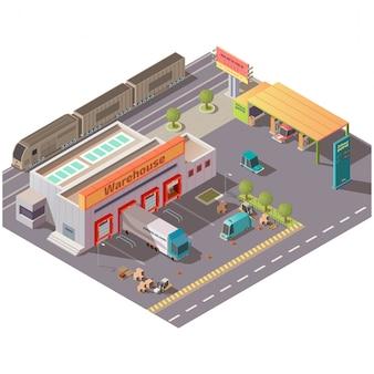 Isometrische lagerhalle und tankstelle